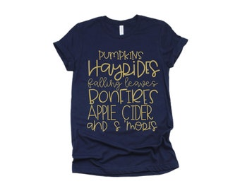 Pumpkins Hayrides Falling Leaves Bonfires Apple Cider and S'Mores, Fall Shirt, Pumpkin Patch Shirt, Mommy & Me