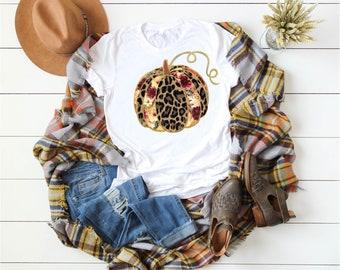 Leopard Floral Pumpkin Fall Shirt, Pumpkin Shirt