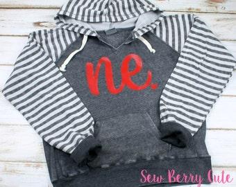 Nebraska Hoodie, Striped Sleeve Hoodie