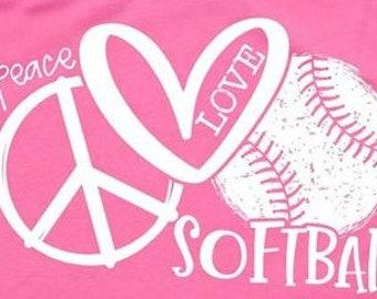 Peace Love Softball Youth Racerback Tank Top