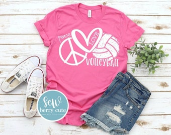 Peace Love Volleyball Shirt, Volleyball  Mom T-Shirt, Volleyball