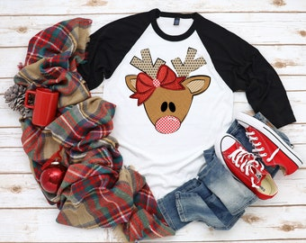 Reindeer Raglan with or without Bow