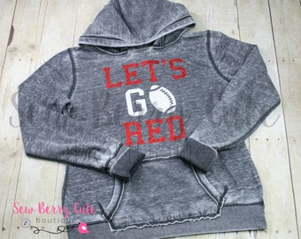Let's Go Red, Football, Acid Washed Hoodie