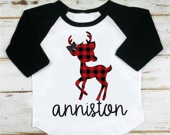 Buffalo Plaid Deer Shirt, Personalized, Christmas Shirt, Holiday Shirt