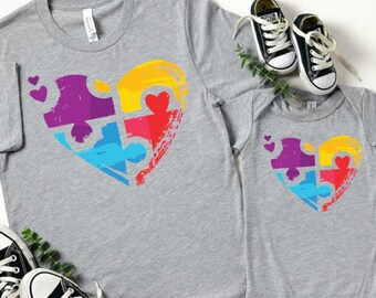 Autism Awareness Puzzle Heart, Graphic Tee