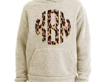 Oatmeal Hoodie with Cheetah Monogram