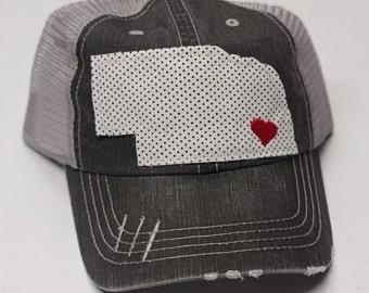 Nebraska Hat, Distressed Trucker Hat, State of Nebraska, Nebraska Apparel