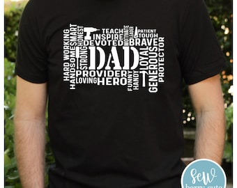 Dad Word Art with Tools T-Shirt, Father's Day Gift
