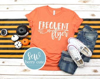 Frequent Flyer, Adult Halloween Shirt, Graphic Tee