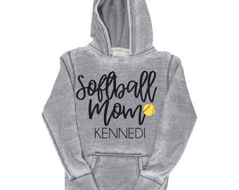Softball Mom Shirt, Personalized Softball Mom Hoodie, Softball Mom, Softball Sports Mom, Softball