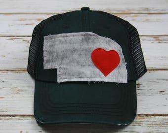 Nebraska Hat, Distressed Hat, Trucker Hat