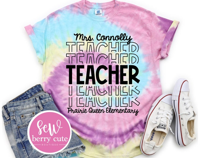 Featured listing image: Tie Dye Personalized Teacher Shirt, Back to School