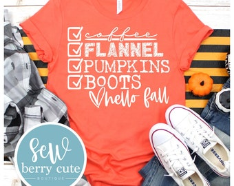 MYSTERY COLOR Coffee Flannel Pumpkin Boots Hello Fall