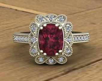 48270b850b0567 Rhodolite Garnet Ring - Antique Cushion - Diamond Halo - Art Deco Inspired  - 14k White Gold - An Original Design by Charles Babb