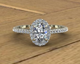 1952484e0 Oval Diamond Engagement Ring - Three Quarter Carat Center - Diamond Halo - 14k  White Gold - An Original Design by Charles Babb