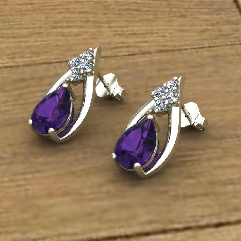 88b463ef4 Amethyst Earrings Pear Shape Studs Diamond Accent 14k | Etsy