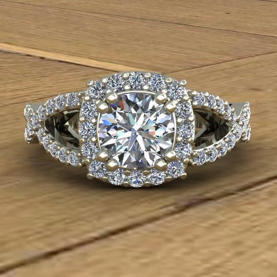 0.65 Ct Halo Flower Stacking Moissanite Engagement Ring Diamond 14k Rose Gold