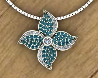 Blue Diamond Pavé Pendant - Pinwheel Flower - 14k White Gold Necklace - An Original Design by Charles Babb