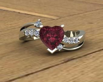 Rhodolite Garnet Ring - Heart with Diamonds - 14k White Gold - An Original Design by Charles Babb