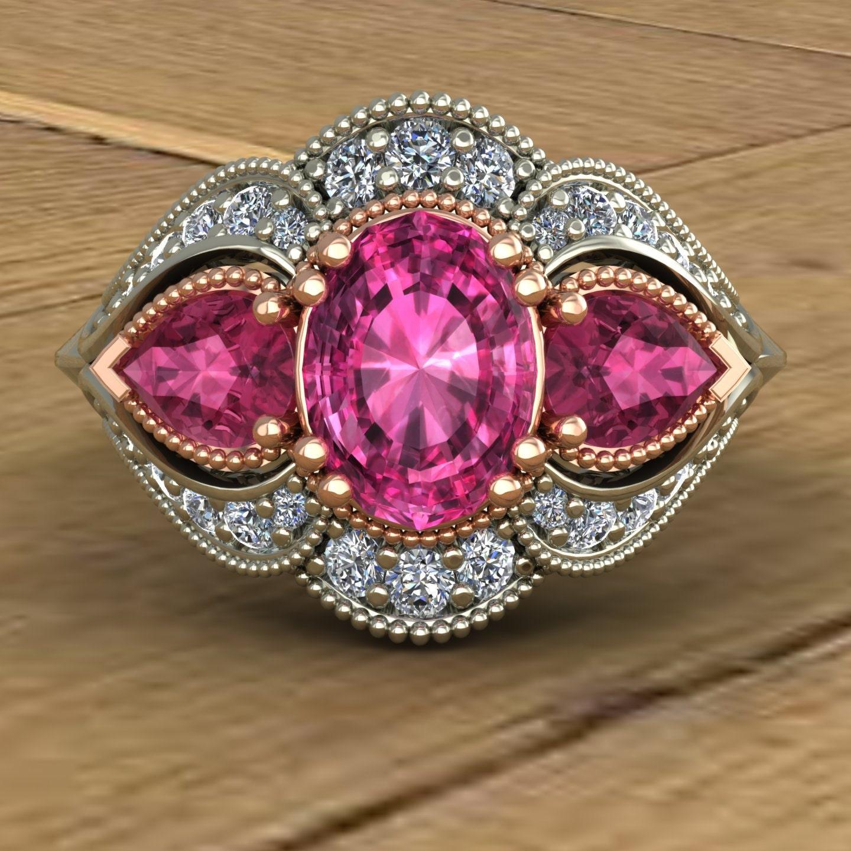 Pink Tourmaline Engagement Ring 14k Rose and White Gold