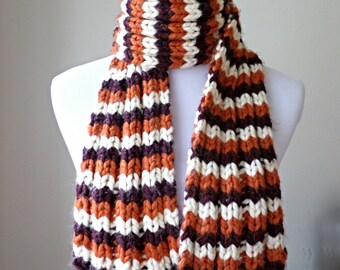 Chunky Knit Scarf, Virginia Tech Scarf, Fall Knit Scarf, Hokies Maroon and Orange Scarf, VA Tech Scarf, Made to Order