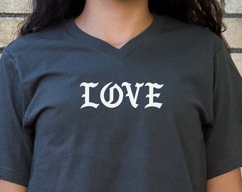 Love - V Neck Shirt - 100% cotton Dk Charcoal