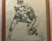 Vintage Lyle Alzado Cleveland Browns Shell Oil Print By Kelly Akins Hand Signed Custom Framed 1981 Excellent Condition