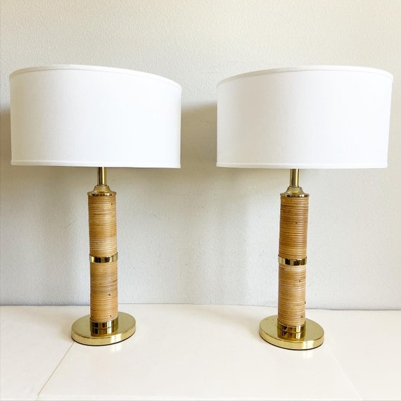 Oversize Wrapped Rattan Lamps & Shades - a Pair