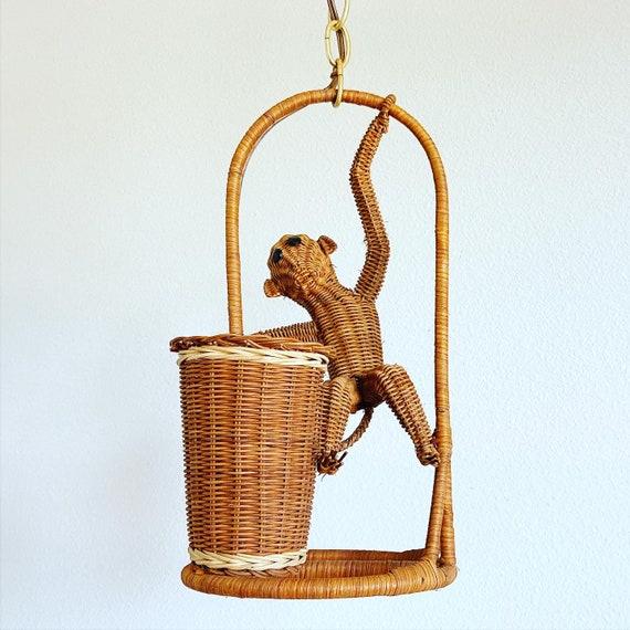 1970s Wicker Monkey Pendant Light