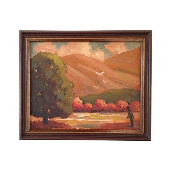 1960s Oil Painting, Autumn Fields