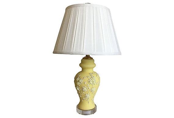 Mid-Century Moriage Lamp & Shade