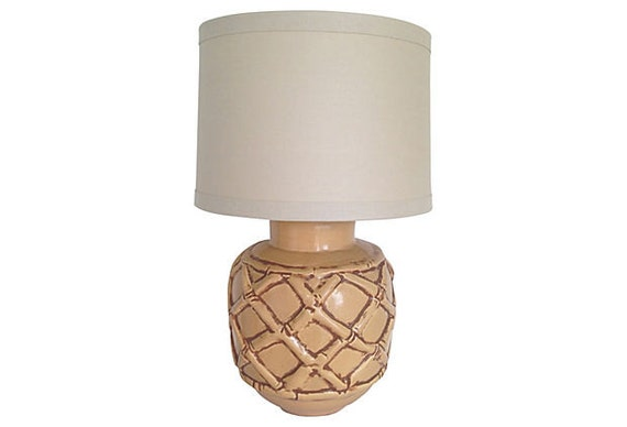 1960s Ceramic Bamboo Lamp & Shade