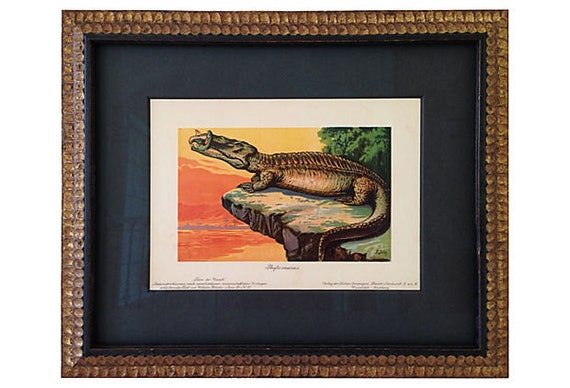 Framed Antique Dinosaur Print, C. 1900