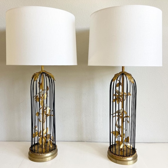 1950s Italian Birdcage Lamps & Shades - a Pair