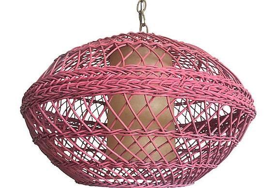 1960s Pink Wicker Pendant Light