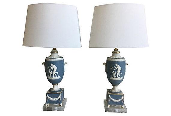 1950s Italian Jasperware Lamps & Shades - a Pair