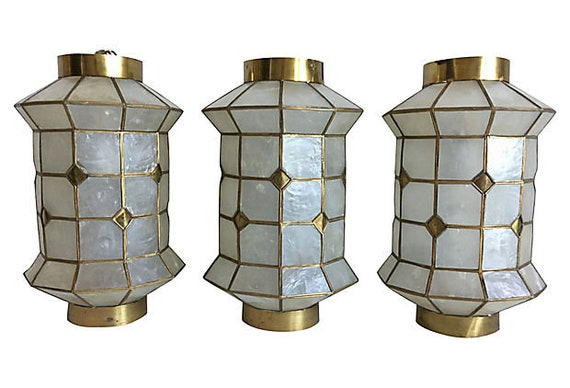Capiz Shell Lanterns, Set of 3