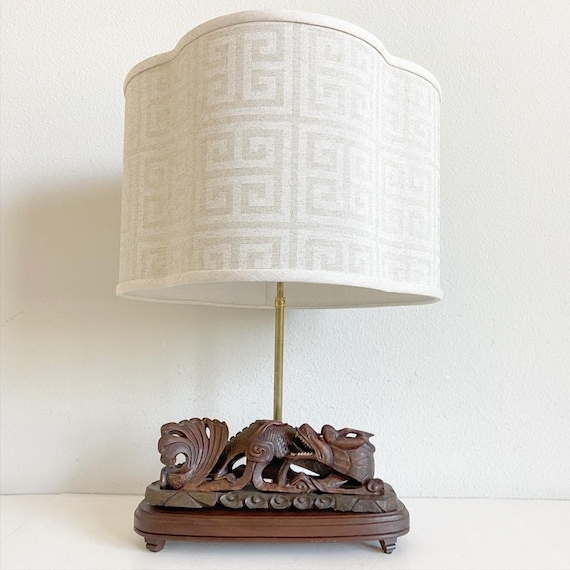 Antique Chinese Dragon Lamp & Shade