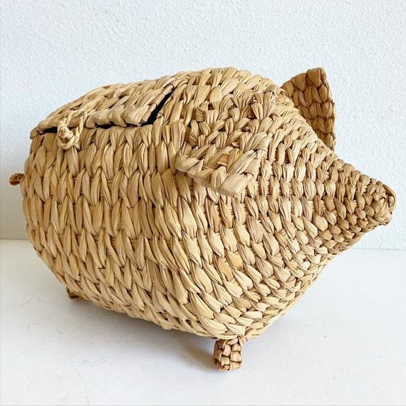 1970s Wicker Pig Basket