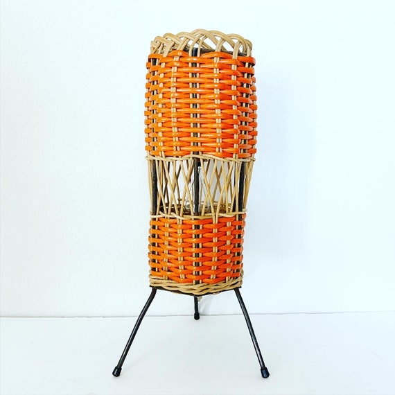 1950s French Wicker Accent Lamp