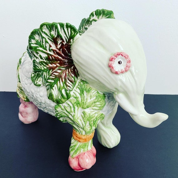 Italian Cabbage Ware Elephant Figurine