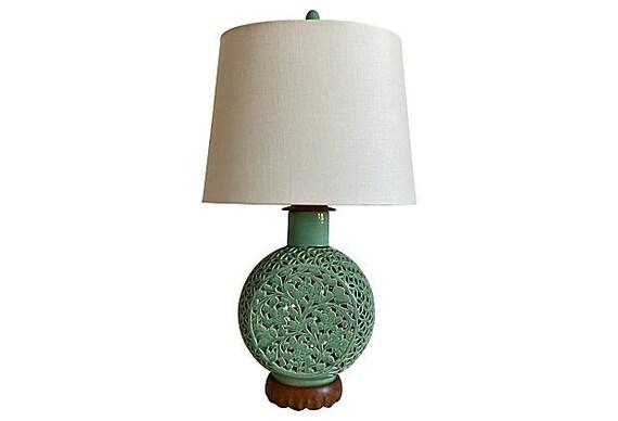 1950s Celadon Porcelain Lamp & Shade