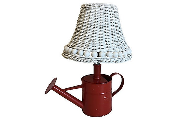 Pop Art Watering Can Lamp & Wicker Shade
