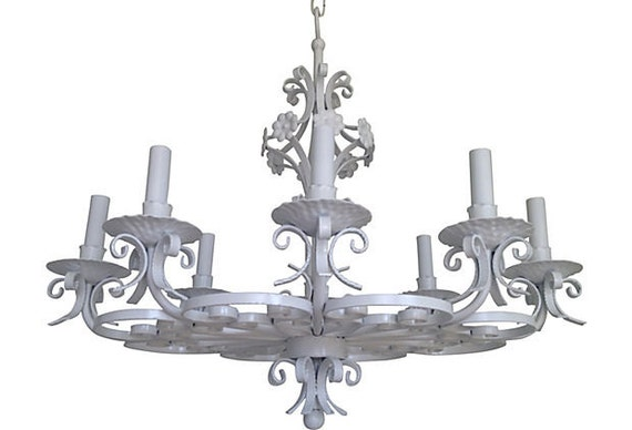1940s Wrought Iron Chandelier