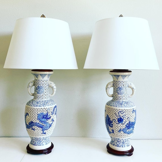 1950s Colossal Blue White Dragon Lamps & Shades - a Pair
