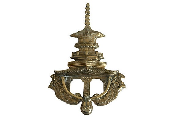 Oversize Brass Pagoda Door Knocker