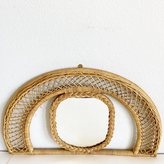 Arched Wicker & Rattan Mirror