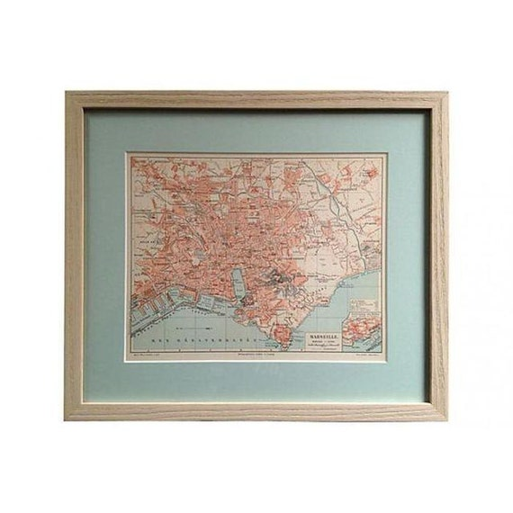 Framed Antique French Map of Marseilles