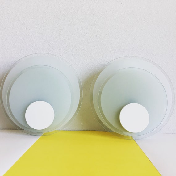 1960s Lightolier Circle Wall Lights - a Pair