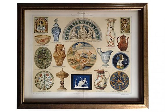 Framed Antique Porcelain Lithograph, 1894